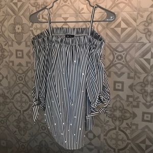 Off Shoulder Gray White Striped Pearl Top Medium